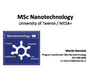 MESA+ Martin Bennink. Program coordinator MSc Nanotechnology