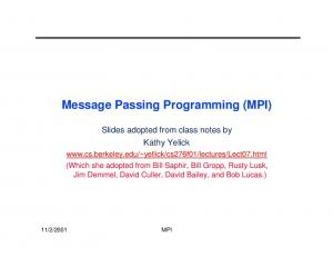 Message Passing Programming (MPI)