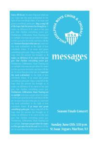 messages Season Finale Concert Sunday, June 12th, 3:30 p.m. St.Isaac Jogues, Marlton, NJ
