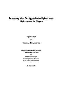 Messung der Driftgeschwindigkeit von Elektronen in Gasen