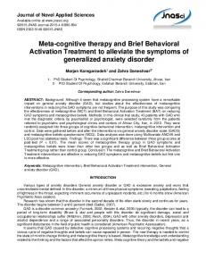 Meta-cognitive therapy and Brief Behavioral Activation Treatment to alleviate the symptoms of generalized anxiety disorder