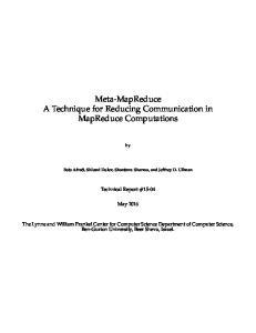 Meta-MapReduce A Technique for Reducing Communication in MapReduce Computations