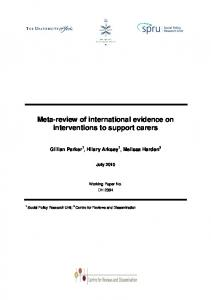 Meta-review of international evidence on interventions to support carers