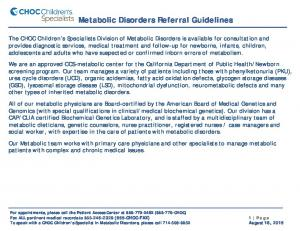 Metabolic Disorders Referral Guidelines