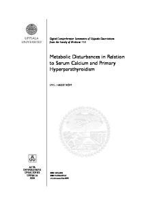 Metabolic Disturbances in Relation to Serum Calcium and Primary Hyperparathyroidism