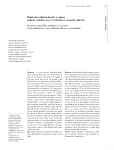 Metabolic syndrome, insulin resistance and other cardiovascular risk factors in university students
