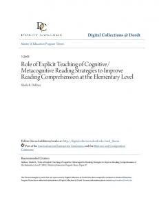 Metacognitive Reading Strategies to Improve Reading Comprehension at the Elementary Level