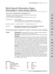 Metal-induced inflammation triggers fibromyalgia in metal-allergic patients