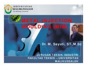METAL INJECTION MOULDING (MIM)