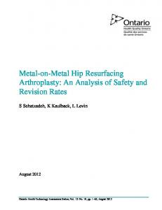 Metal-on-Metal Hip Resurfacing Arthroplasty: An Analysis of Safety and Revision Rates