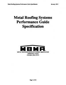 Metal Roofing Systems Performance Guide Specification