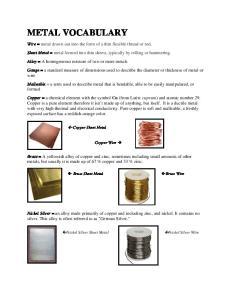 METAL VOCABULARY. Copper Sheet Metal. Copper Wire. Brass Sheet Metal. Brass Wire. Nickel Silver Sheet Metal. Nickel Silver Wire