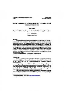 METALLOGRAPHY OF ALUMINIUM BRONZE ALLOY AS CAST IN PERMANENT IRON DIE. Isaac Cenoz *