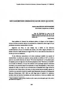 METAMORFOSIS GERMÁNICAS DE DON QUIJOTE