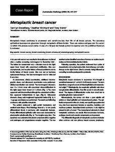Metaplastic breast cancer