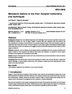 Metastatic lesions to the liver: Surgical indications and techniques