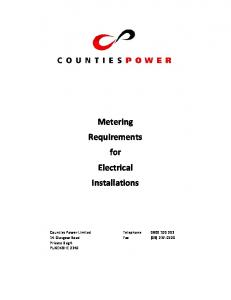 Metering Requirements for Electrical Installations