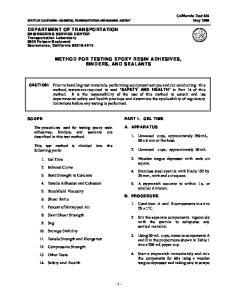METHOD FOR TESTING EPOXY RESIN ADHESIVES, BINDERS, AND SEALANTS