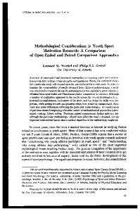 Methodological Considerations in Youth Sport Motivation Research: A Comparison of Open-Ended and Paired Comparison Approaches