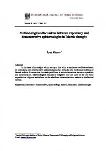 Methodological discussions between expository and demonstrative epistemologies in Islamic thought
