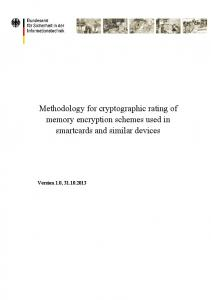 Methodology for cryptographic rating of memory encryption schemes used in smartcards and similar devices