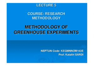 METHODOLOGY OF GREENHOUSE EXPERIMENTS