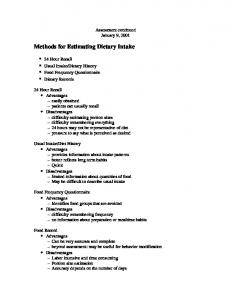 Methods for Estimating Dietary Intake