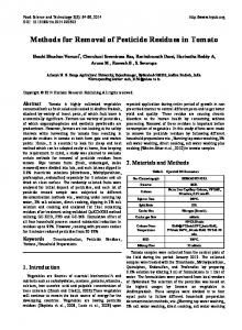Methods for Removal of Pesticide Residues in Tomato