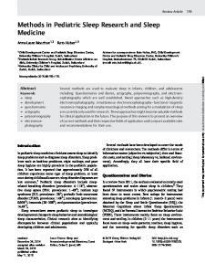 Methods in Pediatric Sleep Research and Sleep Medicine