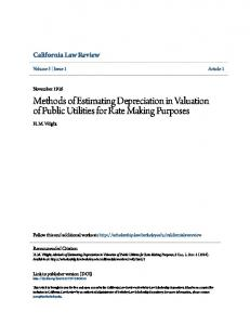 Methods of Estimating Depreciation in Valuation of Public Utilities for Rate Making Purposes
