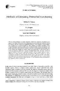 Methods of Estimating Premorbid Functioning