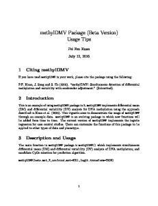 methyldmv Package (Beta Version) Usage Tips