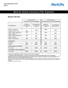 MetLife Dental Insurance Plan Summary