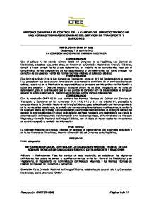 METODOLOGIA PARA EL CONTROL DE LA CALIDAD DEL SERVICIO TECNICO DE LAS NORMAS TECNICAS DE CALIDAD DEL SERVICIO DE TRANSPORTE Y SANCIONES