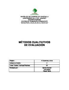 MÉTODOS CUALITATIVOS DE EVALUACIÓN