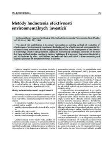 Metódy hodnotenia efektívnosti environmentálnych investícií