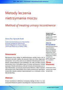 Metody leczenia nietrzymania moczu