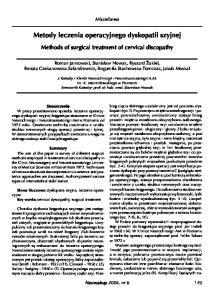 Metody leczenia operacyjnego dyskopatii szyjnej