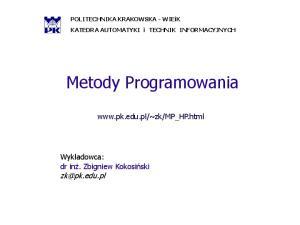 Metody Programowania