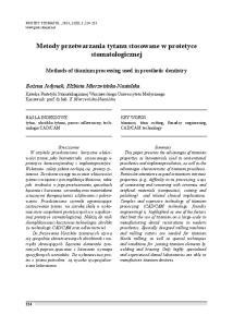 Metody przetwarzania tytanu stosowane w protetyce stomatologicznej