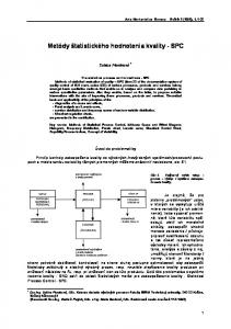 Metódy štatistického hodnotenia kvality - SPC