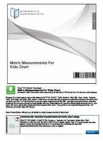 Metric Measurements For Kids Chart