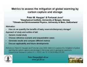 Metrics to assess the mitigation of global warming by carbon capture and storage