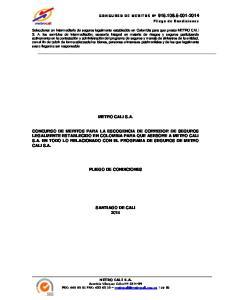 METRO CALI S.A. PLIEGO DE CONDICIONES SANTIAGO DE CALI 2014 METRO CALI S.A