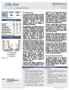 METROGAS S.A. INFORME DE CLASIFICACION Agosto 2012