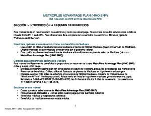 METROPLUS ADVANTAGE PLAN (HMO SNP) Del 1 de enero de 2016 al 31 de diciembre de 2016