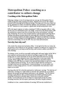 Metropolitan Police: coaching as a contributor to culture change