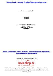 Metzler Lexikon Gender Studies-Geschlechterforschung