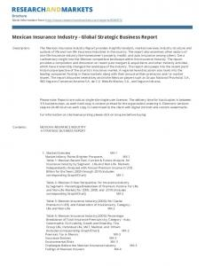 Mexican Insurance Industry - Global Strategic Business Report