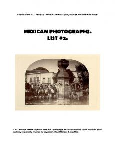 MEXICAN PHOTOGRAPHS. LIST #2